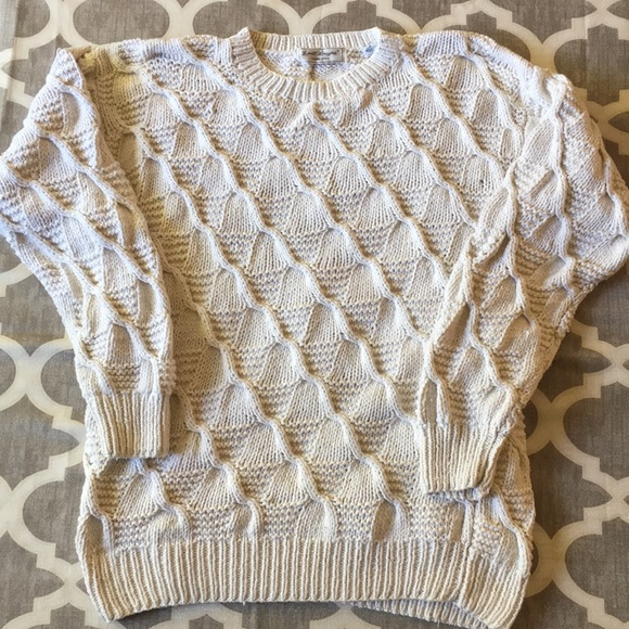 9351495f6ba VINTAGE Cream Cotton Fisherman s Sweater